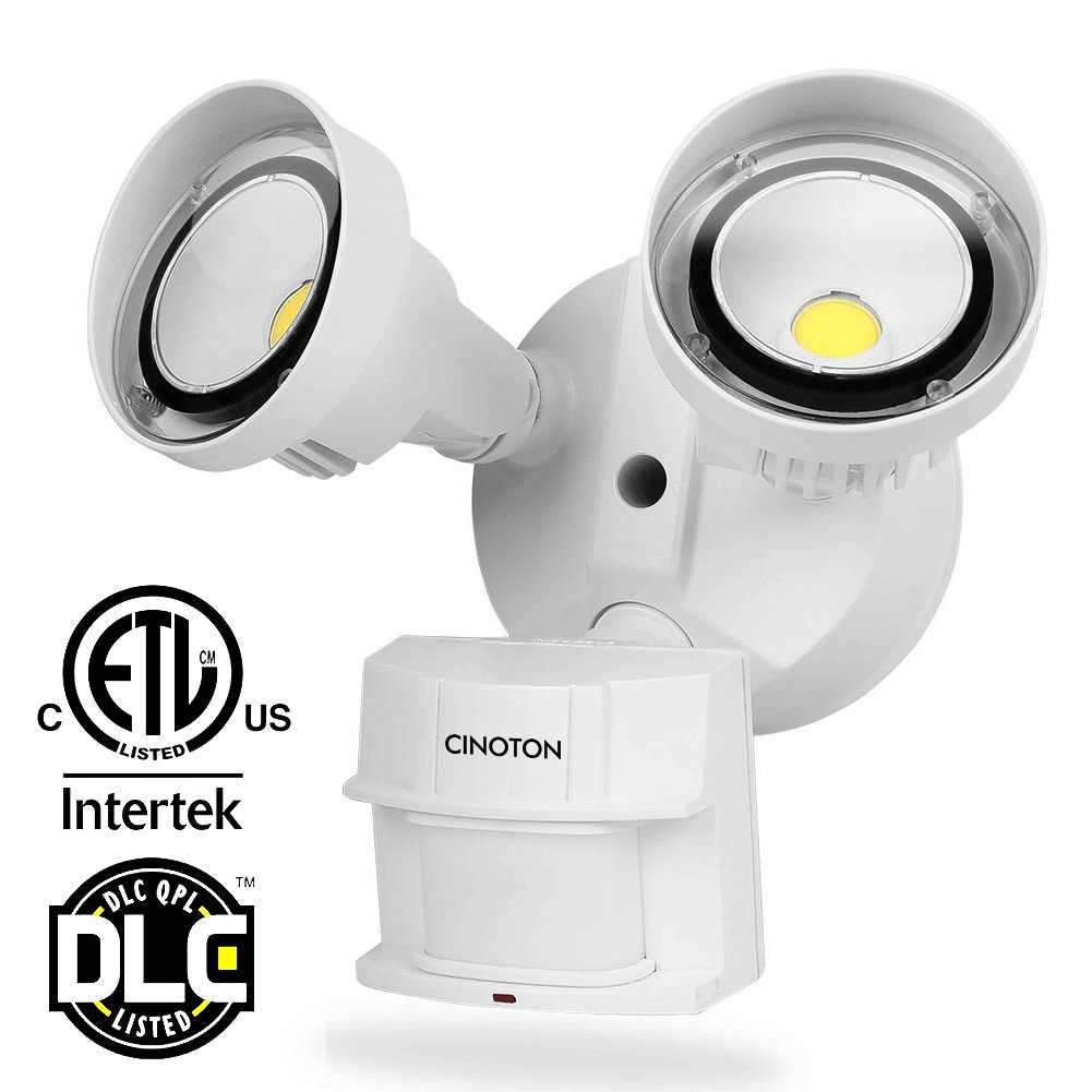CINOTON LED Security Lights 20W,Infrared Motion Sensor Outdoor Flood Lights, 2 Head, Crystal White Glow 5000K Adjustable Dual Head