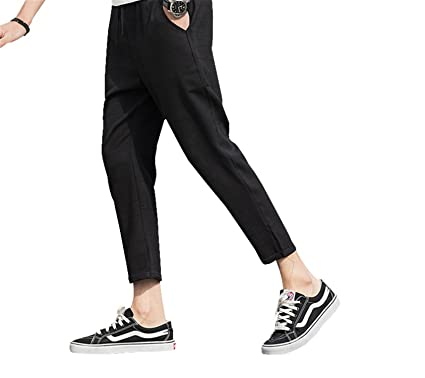 f181738fc1 Nerefy Summer Plaid Linen Casual Pants Men Ankle-Length Joggers Mens  Trousers at Amazon Men's Clothing store: