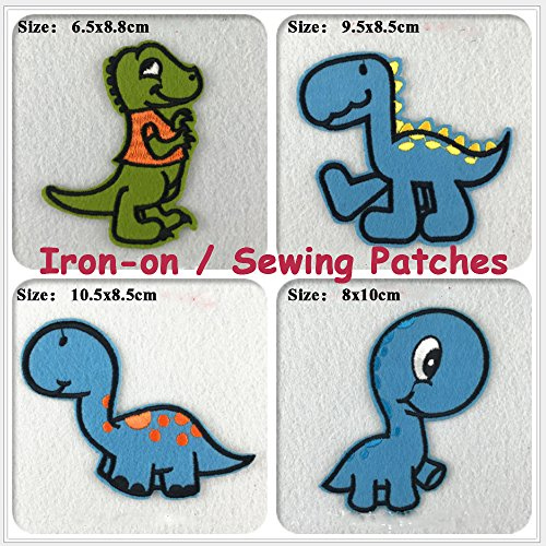 Assorted Dinosaur Applique Patches Sew On Iron-On Embroidered Decoration Fabric for Kids Clothing Jeans Backpacks and More (9pcs)