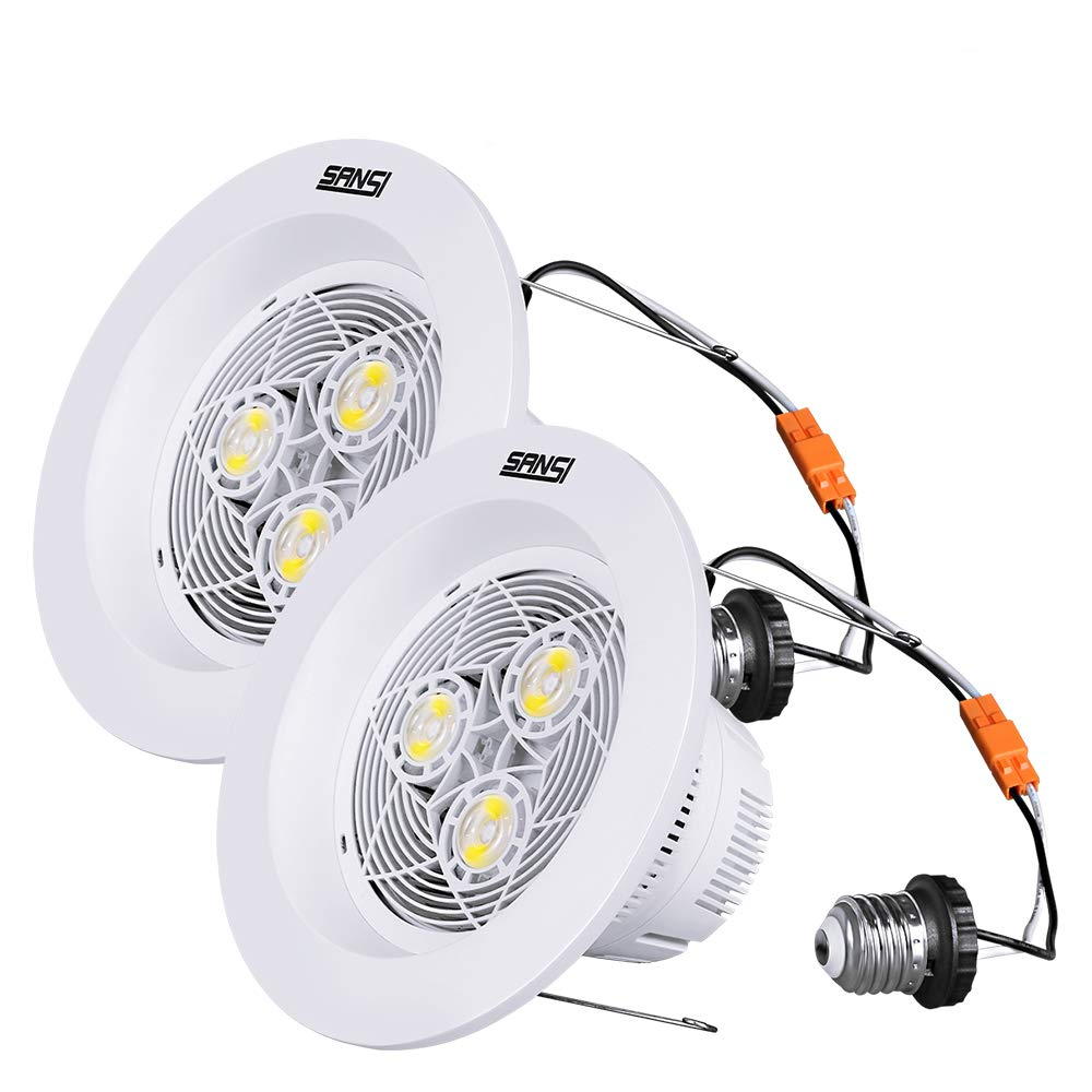 6 inch LED Recessed Lighting, 15W (150W Equiv.) Dimmable Recessed Lighting, 1800lm, 4000K Natural White Daylight, LED Recessed Downlight, Energy Saving, LED Retrofit Lighting, 2 Pack, SANSI