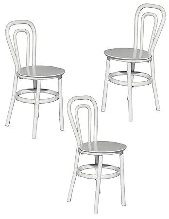 Set: Stühle / Bistrostuhl / Gartenstühle   Weiß   Aus Metall