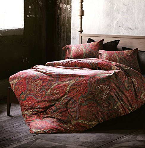Boho Paisley Print Luxury Duvet Quilt Cover and Shams 3pc Bedding Set Bohemian Damask Medallion 350TC Egyptian Cotton Sateen (King, Red) by Eikei