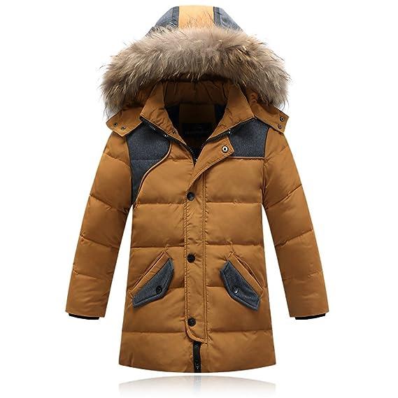 GenialES Abrigo de Pluma Chaqueta con Capucha Pelo para Invierno Down Parka Puffer Coat para Infantiles Niños Amarillo 140: Amazon.es: Ropa y accesorios