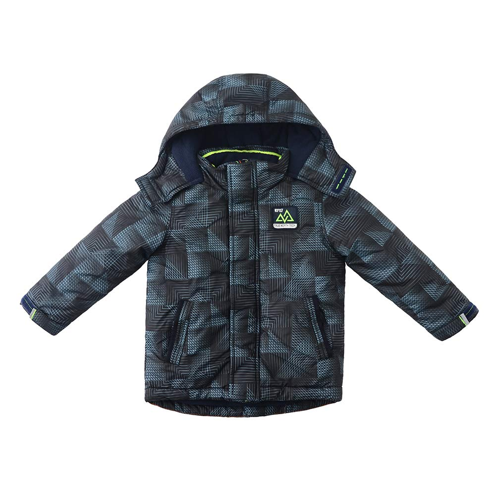 SNOW DREAMS Boys Puffer Jacket Printed Windproof Hooded Collar Zipper Quilted Coat