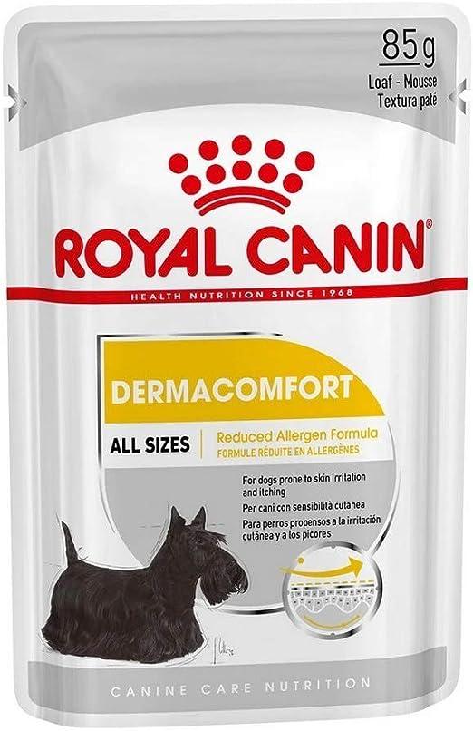 ROYAL CANIN Alimento húmedo DERMACOMFORT Paté para Perros con Pieles Sensibles, Caja Completa 12 x Sobres 85g: Amazon.es: Productos para mascotas