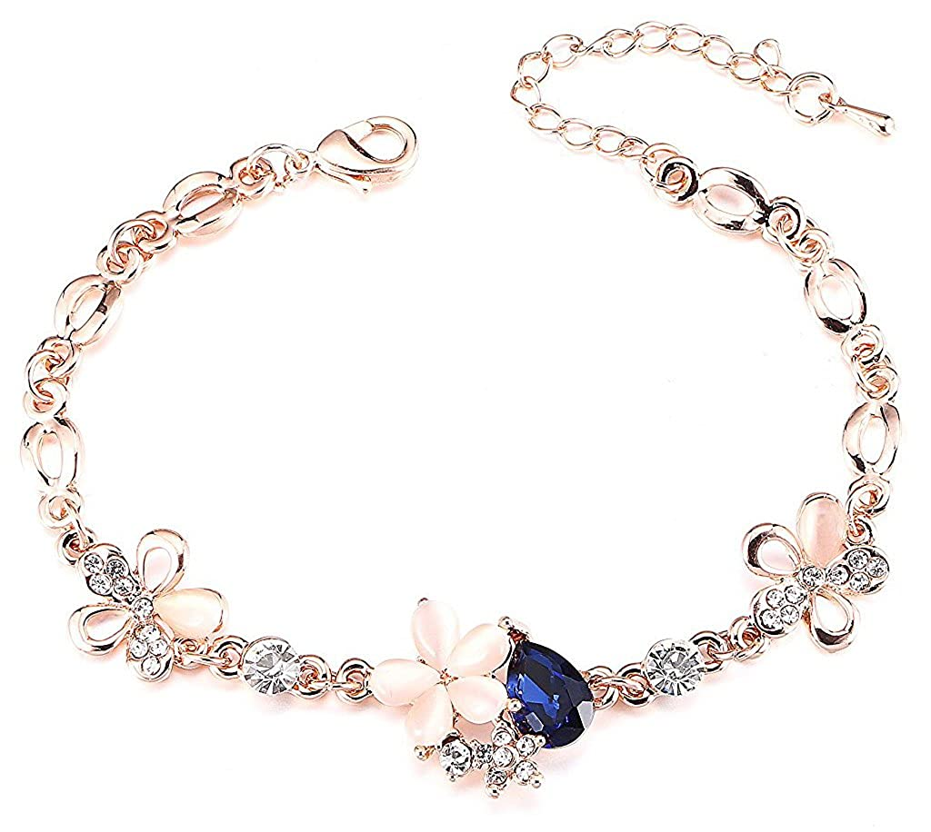 a243aab0ed4 YouBella Jewellery Rose Gold Plated Crystal Bracelet Bangle Jewellery For  Girls and Women  Amazon.in  Jewellery