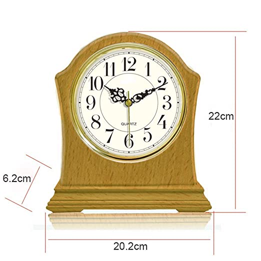 Amazon.com : LQUIDE Family Fireplace Clocks Table Clock, Wooden, Non-Ticking Silent Desktop Clock Silent Table Clock Decorative Suitable for Living Room ...