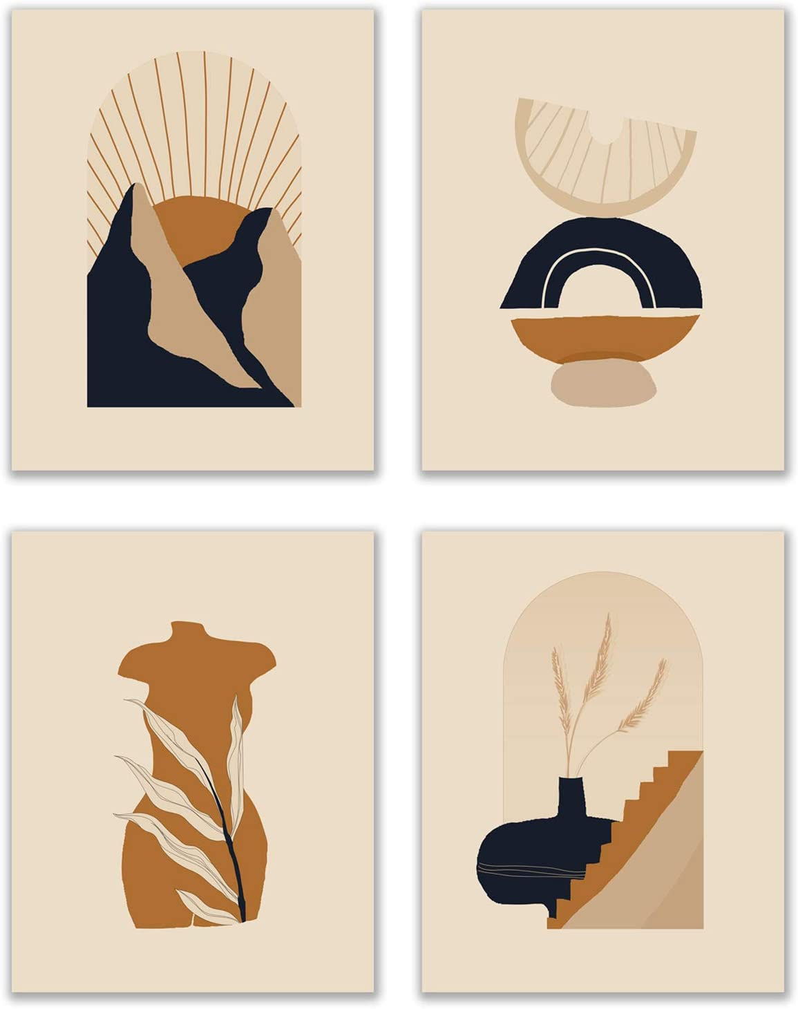 Modern Terracotta Prints - Set of 4 (11x14 Inches) Glossy Boho Abstract Geometric Mid Century Contemporary Minimalist Wall Art Decor - Neutral Yellow Burnt Orange Navy Fruit Floral