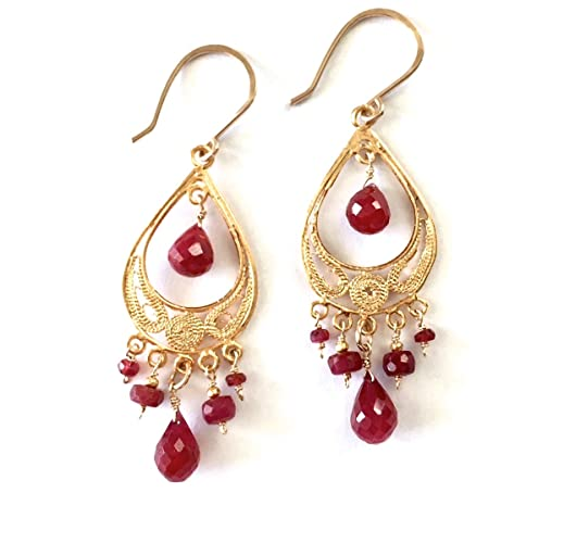 Amazon Com Red Ruby And Gold Vermeil Filigree Chandelier Earrings