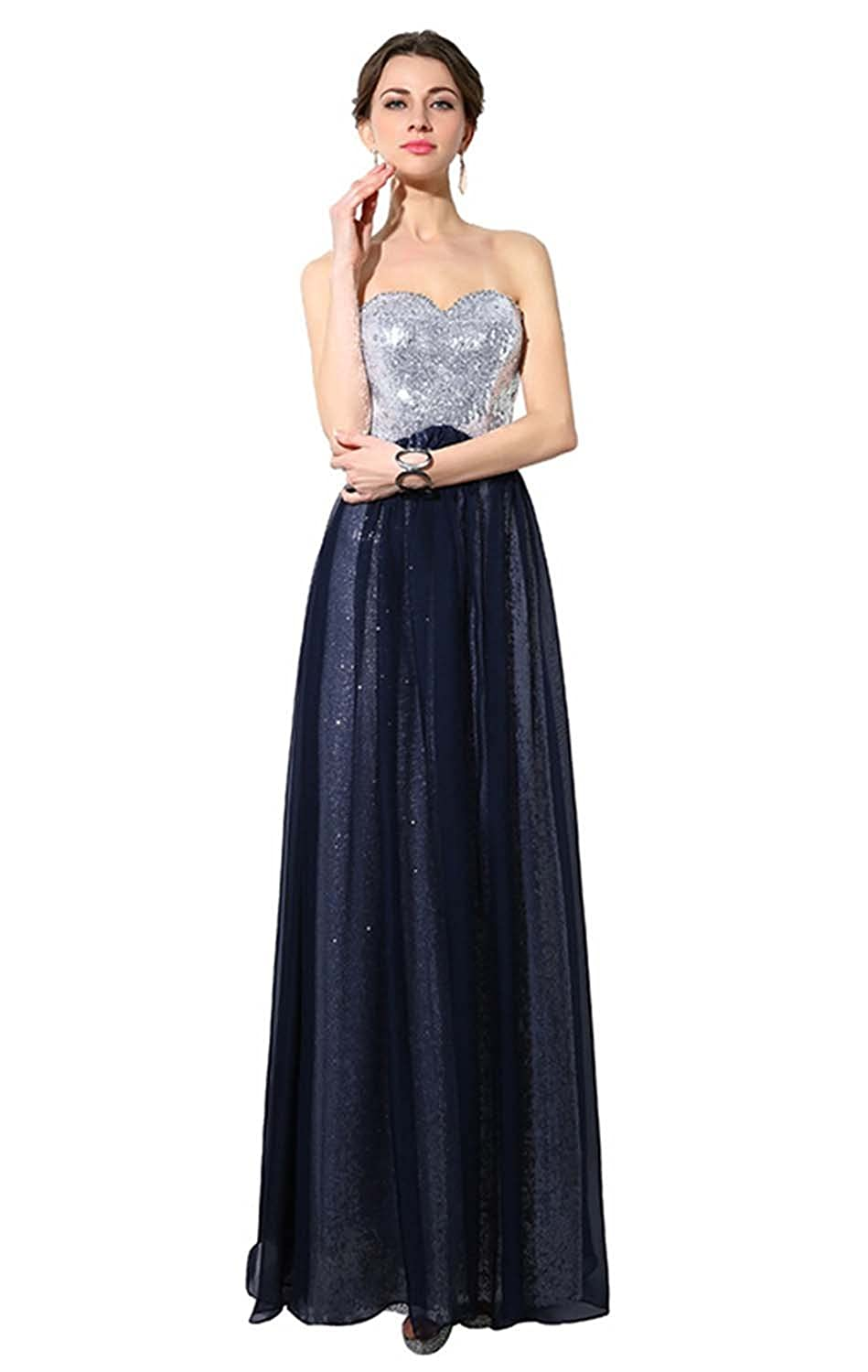 Fanhao Women's Sweetheart Full Sequins Shining Long Formal Bridesmaid Dress