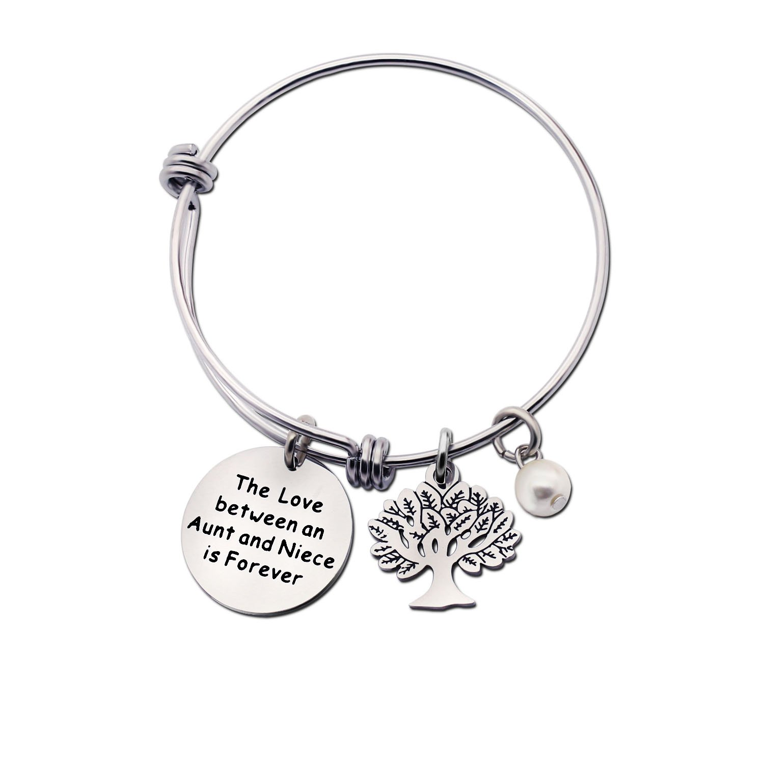 Aunt Niece Gifts Family Tree Stainless Steel Bracelet Bangle Graduation Birthday Gift Niceter