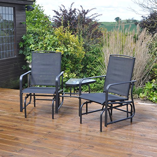 Kingfisher Black Gliding Love Seat Rocking Chairs Outdoor Garden Furniture Set