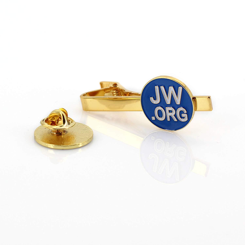 Jw.org Gold Color Necktie Clip and Lapel Pin Set