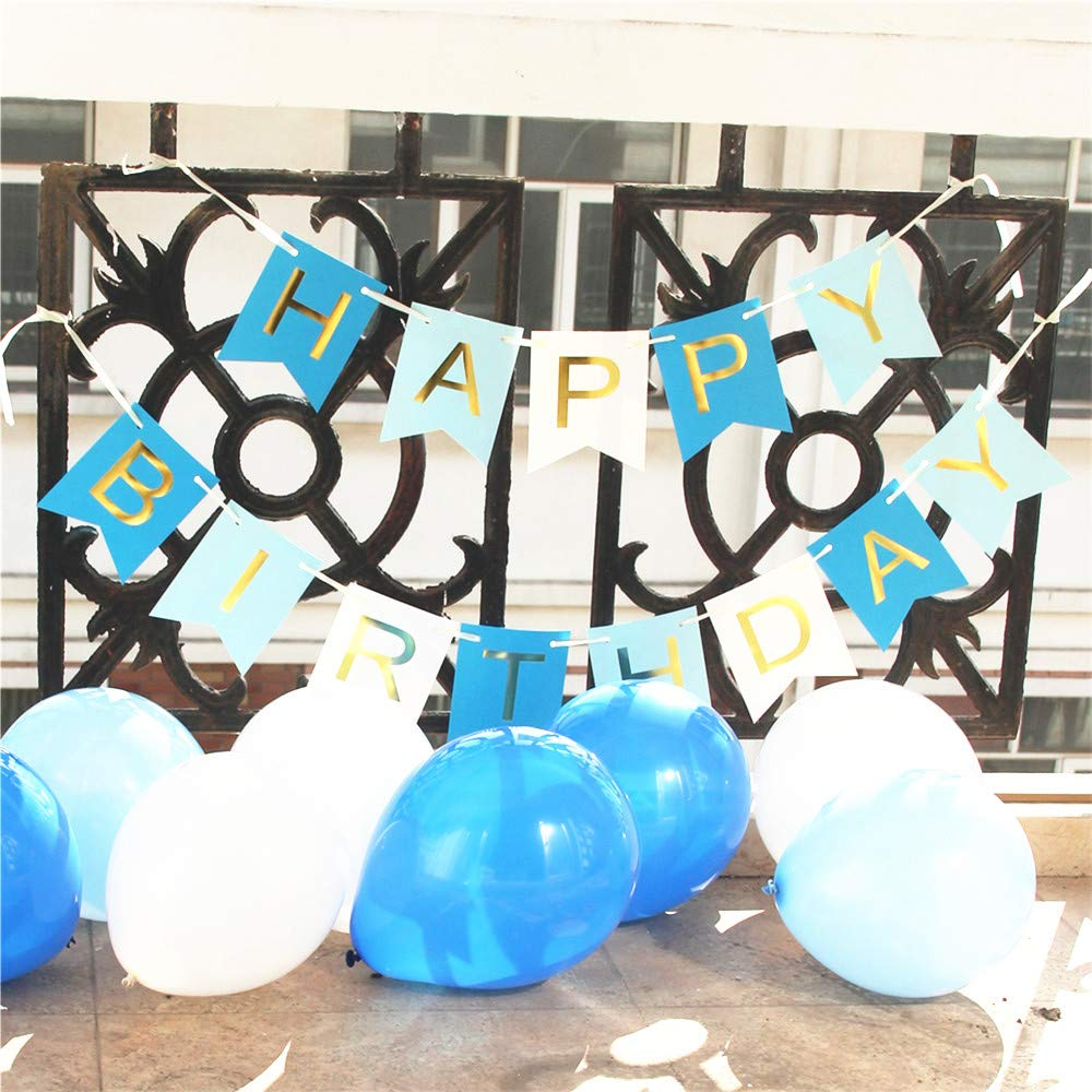 the GreatTony Happy Birthday Banner Bunting for Party Decorations Blue Color