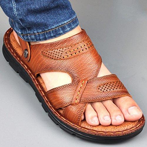 Xing Lin Sandalias De Hombre Sandalias De Cuero Verano Hombres MenS Casual Calzado De Playa Plataforma Antideslizante De Sandalias Y Zapatillas brown