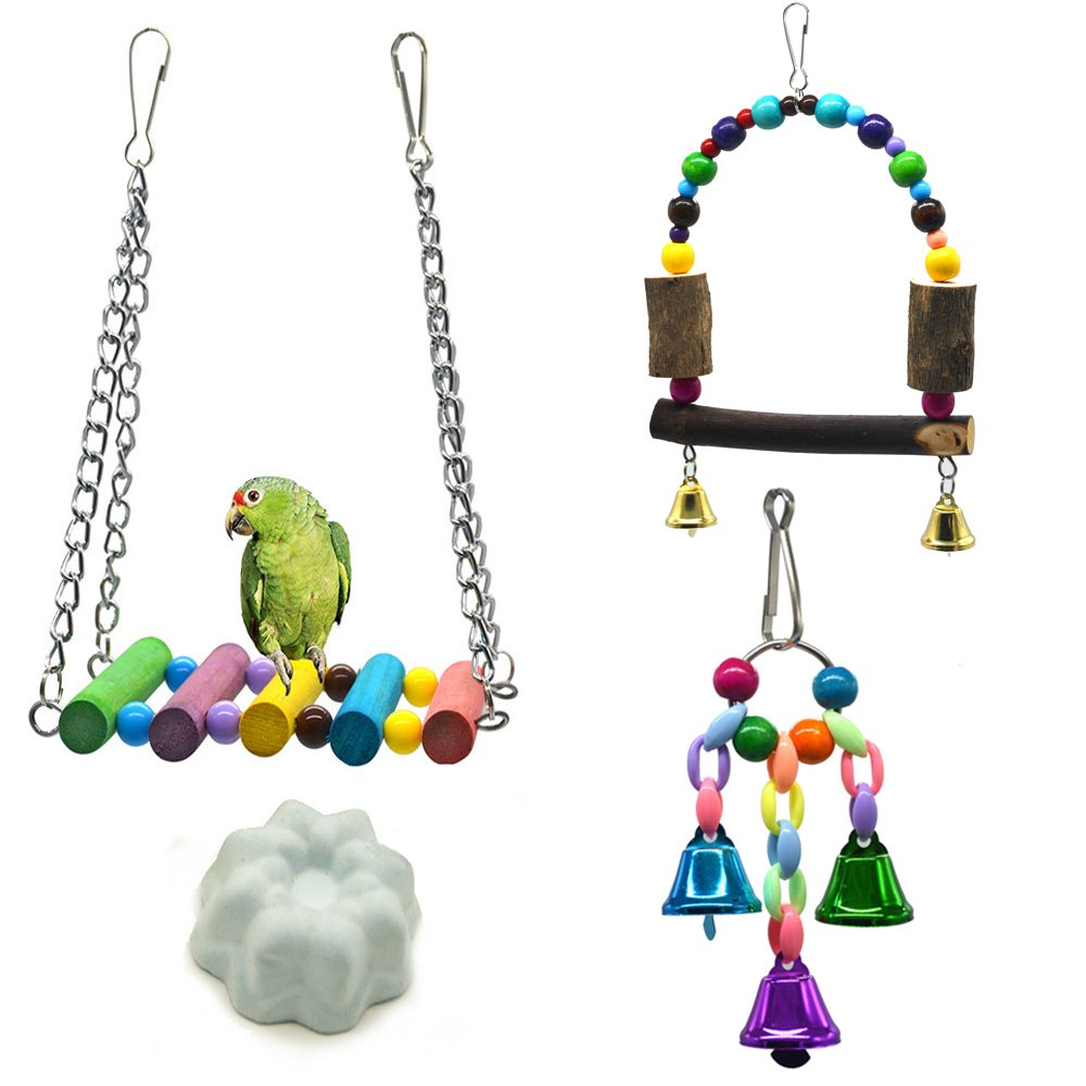 Bird Swing Toys,Bird Hammock Ladder,Wooden Bird Cage Hammock Swing Toy for Cockatiels, Budgie, Conures, Macaws, Parrots, Love Birds, Finches(4 Pack)
