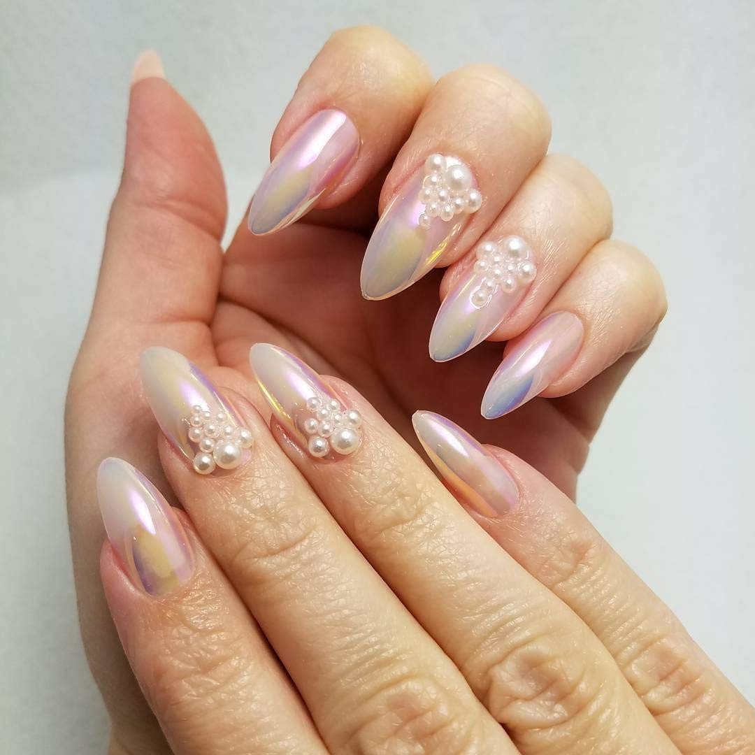 ejiubas Press On Nails cromo Stiletto uñas Tips Uñas Postizas con pegamento de uñas, 24 pcs 12 tamaños: Amazon.es: Belleza