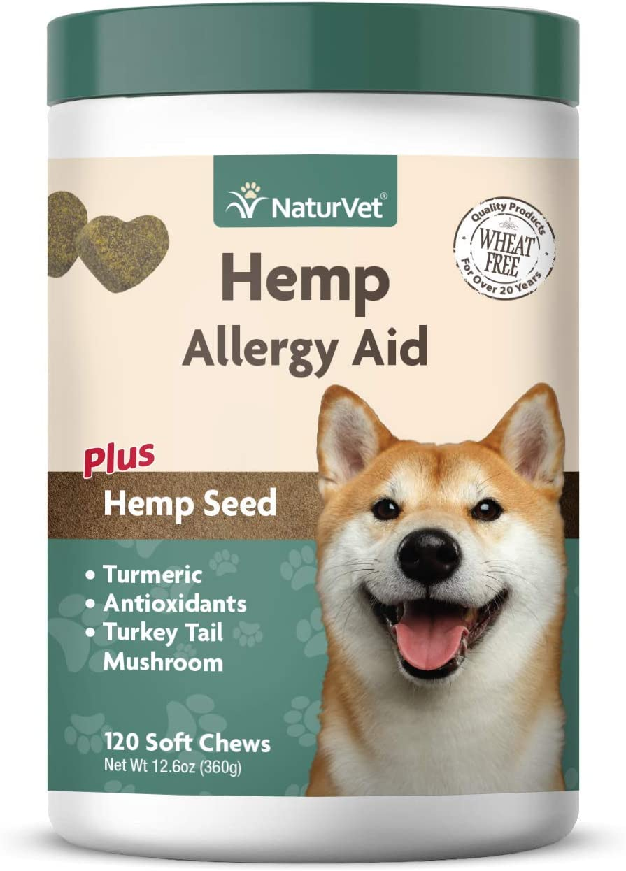 NaturVet Hemp Allergy Aid for Dogs – Plus Hemp Seed Helps Maintain Proper Skin Moisture Respiratory Health Enhanced with Antioxidants, Omegas, DHA, EPA Hemp Seeds