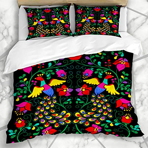 - Ahawoso Duvet Cover Sets Queen/Full 90x90 Flower Mexican Abstract Folk Peacock Pattern Bird Ethnic Art Microfiber Bedding with 2 Pillow Shams