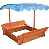 Merax Convertible Cedar Sandbox with Canopy and Two Bench Seats 47 X 47 Inches for 3 to 4 kids