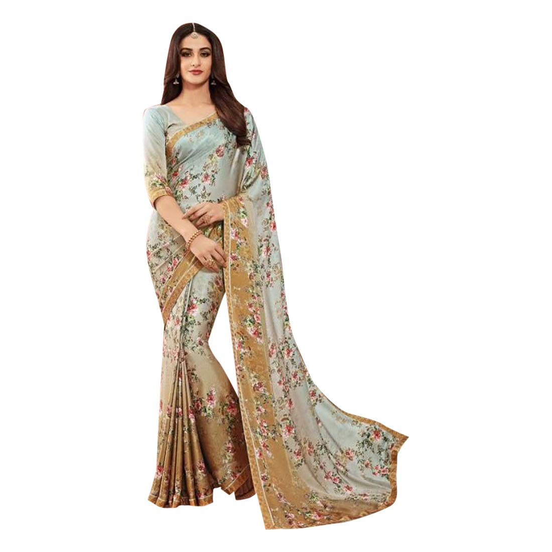 Stylish Indian Designer Sari Floral Swarovski stone work Saree with Blouse for Women 7506