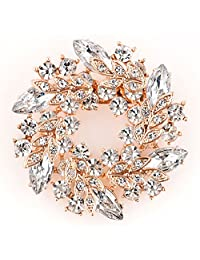 Jewelry Vintage Flower Brooches Clear White Crystal Rhinestone Penannular Brooch Pin
