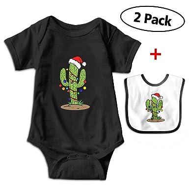 e52223c33 Amazon.com: Leopoldson Christmas Cactus Royalty Baby Bodysuits Short Sleeve  Infant Jumpsuit with Baby Bib: Clothing