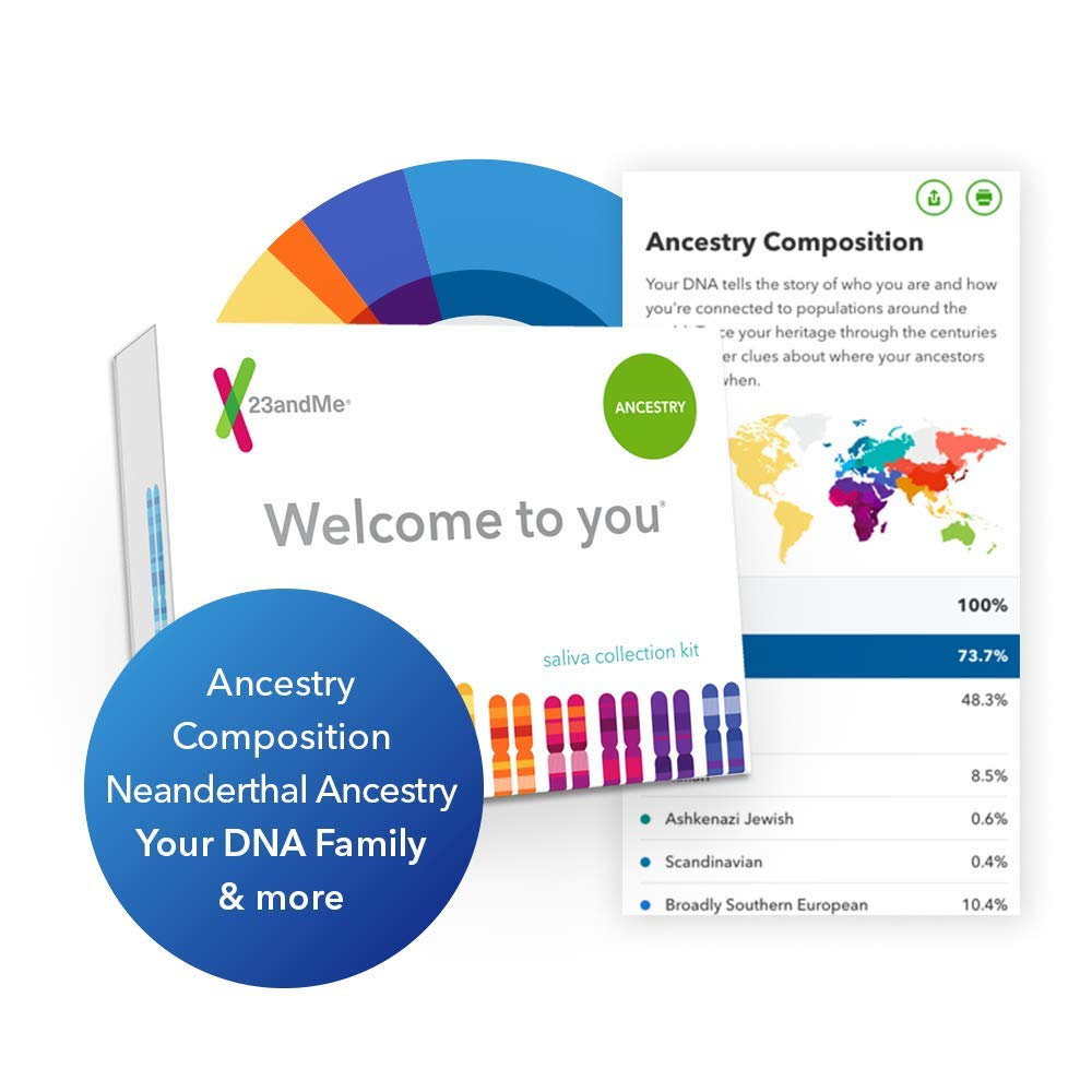 23andMe DNA Test - Ancestry Personal Genetic Service - includes 150+  Ancestral Regions, DNA