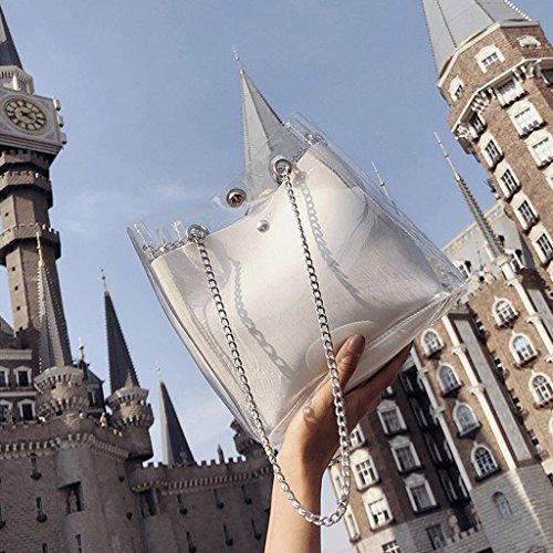 PVC Clear Fashion Crossbody White Purse Shoulder Bags Stylish Handbag Tote Black Transparent JAGENIE CXwtqq