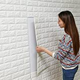 3D Simulation Brick Tile Self-Adhesive Peel-sticker Wall Paper for Room Decor Decal Sticker Mural (White)