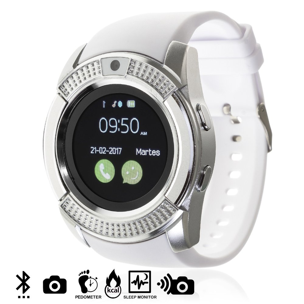 Silica DMV023WHITE - Smartwatch Bluetooth con sim, Micro SD y cámara, Color Blanco
