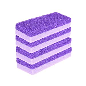 YAIKOAI 5 Pack Purple Pumice Stone Sponge 2-in-1 Feet Callus Remover Pedicure Stone Foot Scrubber Home Pedicure Exfoliation for Feet Hands Dead Skin Exfoliation