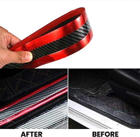 ,Door Entry Guards Scratch Cover Protector Paint Threshold Guard QI BEN Carbon Fiber Rubber car Bumper Door Guard//Rear Bumper Guard Scratch Scratch Protection Strip 100/% Waterproof width5CM long2.5M