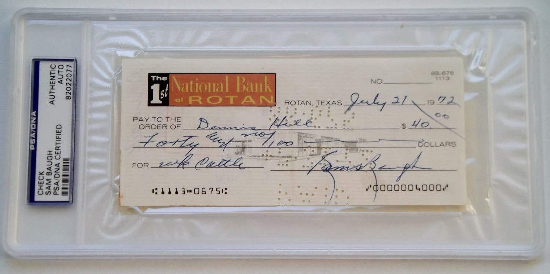 Sammy Baugh Autographed Signed 1972 Personal Check Slabbed Washington Redskins Hof PSA/DNA