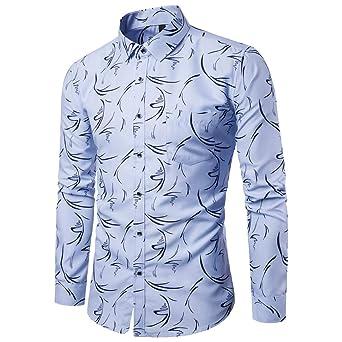 FeiBeauty - Camisa de manga larga para hombre, diseño de flores rotas, XXXXL, azul celeste, 1: Amazon.es: Industria, empresas y ciencia