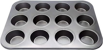 Oferta amazon: EUROXANTY® Moldes de Horno para 12 Magdalenas y Muffins | Acero al Carbono con Recubrimiento Antiadherente Fácil Limpieza