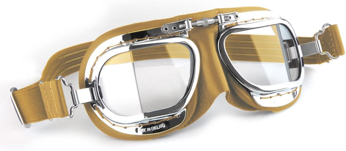 HDM Halcyon Compact Classic Motorcycle Goggles//Flying Goggles Green Leather