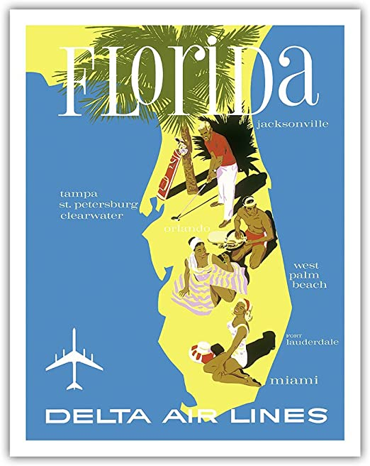 "Delta Air Lines Florida West Coast 11/"" x 17/"" Collector/'s Travel Poster Print"