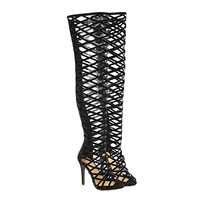 f997c707e3b8 Safiya Ladies Women High Heel Stiletto Over The Knee Strappy Cut Out Back  Zip Peep Toe Boot 8 BLACK  Amazon.co.uk  Shoes   Bags