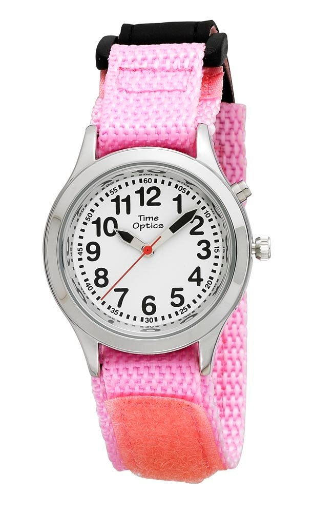 TimeOptics Girls Talking Silver-Tone Day Date Alarm Fast Wrap Strap Watch by TimeOptics