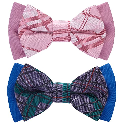 Blueberry Pet Gift Box with Pack of 2 Handmade Dog Cat Bow Tie, Scottish Plaid Tartan Style Bowtie Set in Baby Pink & Blue, 4