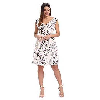 a472cdbc557 Rosegal Femme Robe Sexy d été Chic Col V sans Manche Imprimée de Fleurs Robe