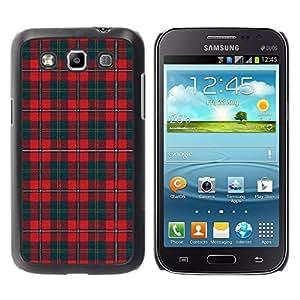 FECELL CITY // Duro Aluminio Pegatina PC Caso decorativo Funda Carcasa de Protección para Samsung Galaxy Win I8550 I8552 Grand Quattro // Teal Red Pattern Scottish Lines