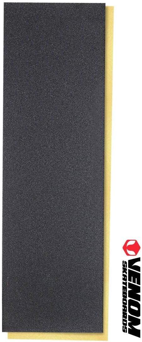 "Venom Skateboards Professional Standard Perforated No Bubbles Skateboard Grip Tape 9"" x 33"" - Black / UK"