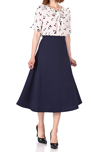 Agent Peggy Carter Costume, Dress, Hats Danis Choice Elastic Waist A-line Flared Long Skirt  AT vintagedancer.com