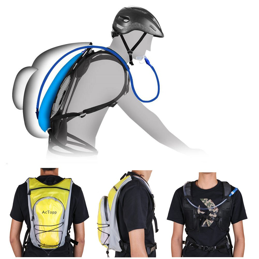 AcTopp Hydration Pack - 4L Hydration Backpack and 2L Bladder Bag, Waterproof and Adjustable Straps with FDA Approved Hydration Bladder, Best for Cycling Running Hiking Jogging