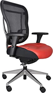 Oak Hollow Furniture Aloria Series Office Chair Ergonomic Executive Computer Chair with Genuine Leather Seat Cushion and Mesh Back, Adjustable and Comfortable, Lumbar Support, Swivel and Tilt (Red)