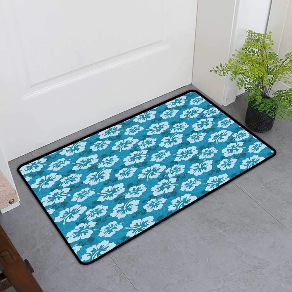 TableCovers&Home All-Natural Rubber Doormats, Hawaiian Decorations Non-Slip Rugs for Kids Room, Hawaiian Hibiscus Flowers and Leaves Fashion Fabric Design Style Artwork Print (H36 x W60)