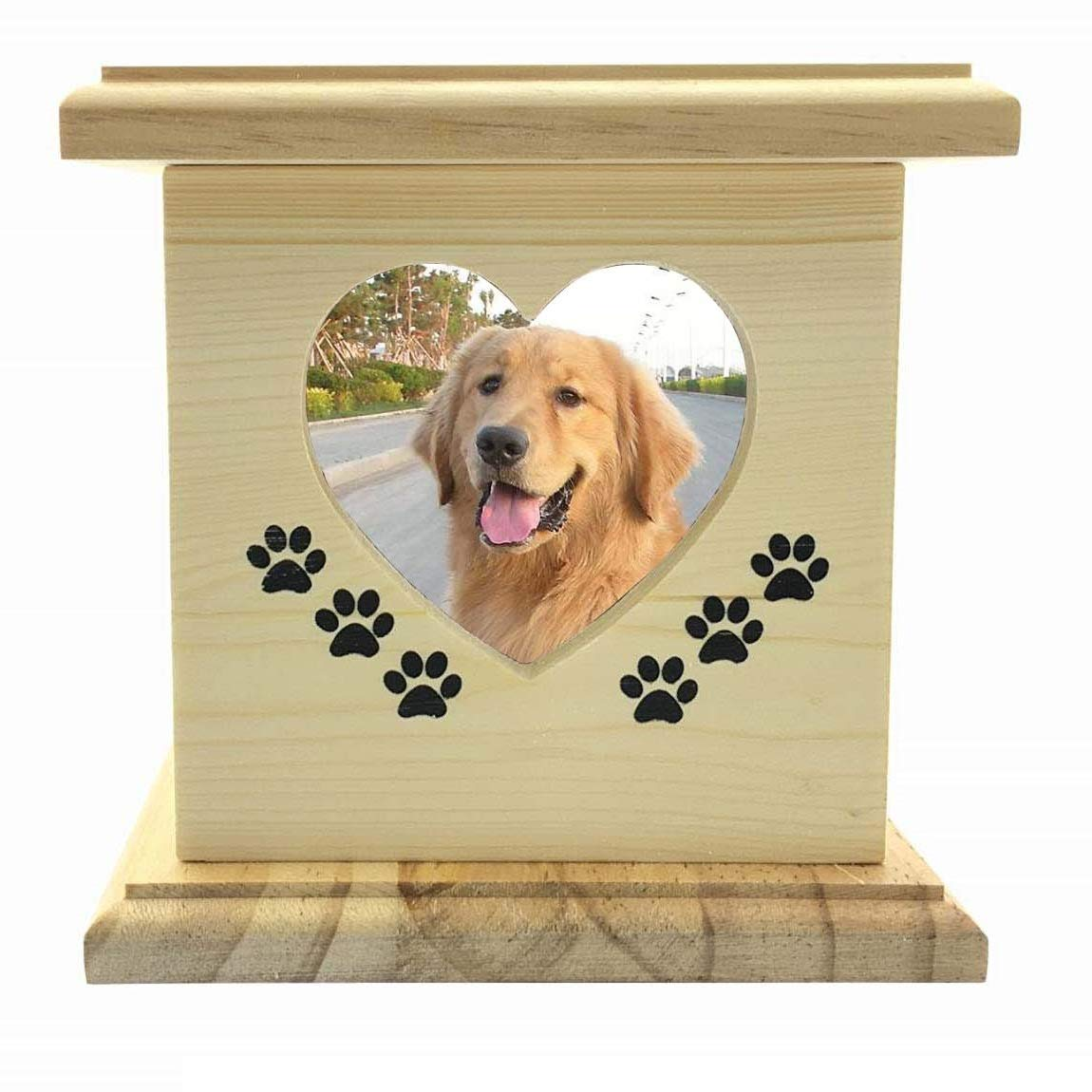 LONGXI Solid Wood & Hand Made with Photo Frame Dog Cat Pet Casket Animal Coffin Commemorate The Coffin Box Wooden Pet Cremation Urn