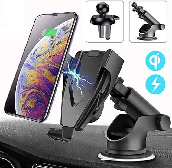 Wireless Car Charger Dual USB Port Car Fast Charger Adapter Compatible with iPhone Xs 8 Plus Samsung Qi-Enable 2 in 1 Dashboard//Windshield Mount Adorve Car Phone Mount Holder Air Vent Phone Holder